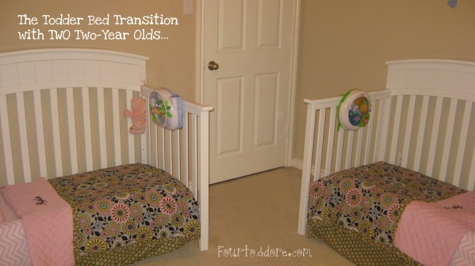 toddler bed transtion with twin girls