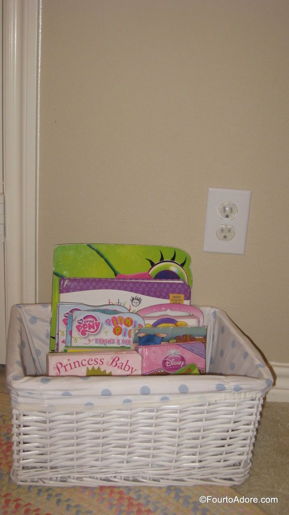 "A basket of books has always been part of the girls room.  They seem to relax from ""reading"" before bed, much like me."