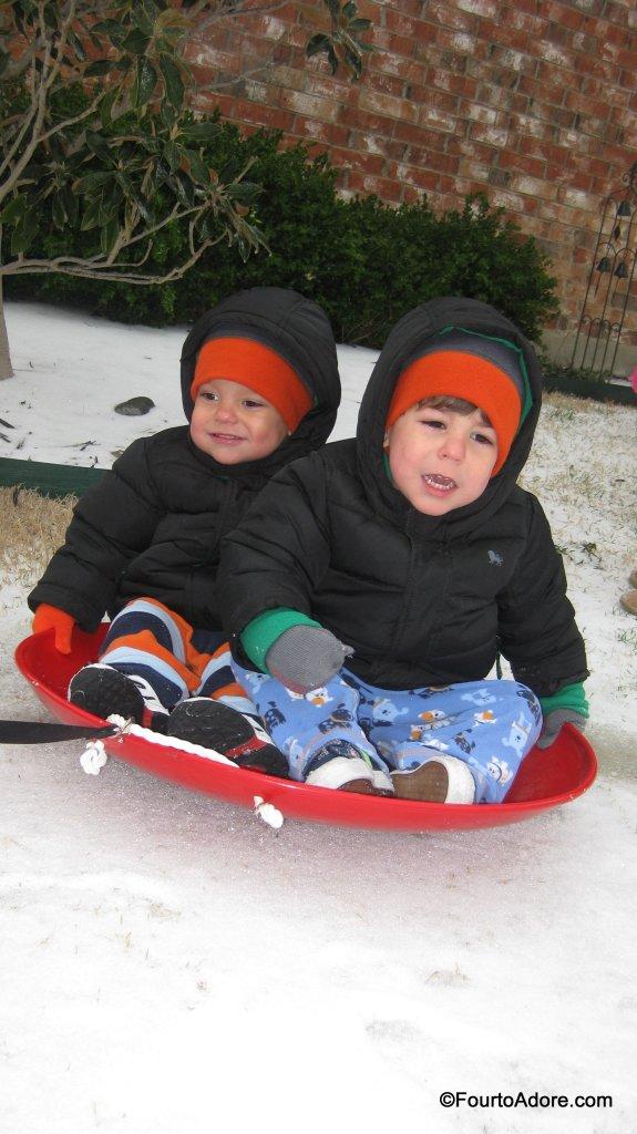 boys sledding
