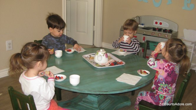 Tea Parties are great for practicing manners and when the weather keeps toddlers inside