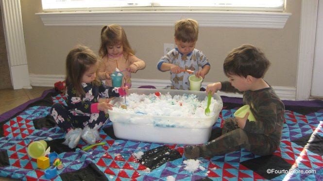 If you don't want to bundle up to enjoy the snow, bring a tub inside for sensory play.
