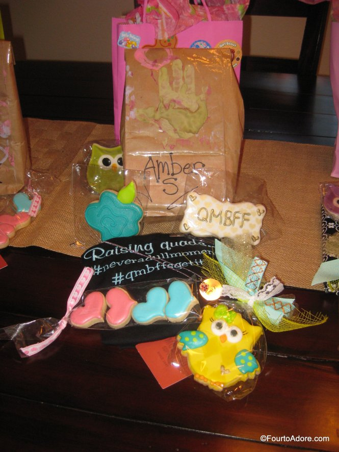 Amber made handstamped necklaces like the ones crafted for her Etsy Shop, Texas Take and ordered gorgeous cookies from a triplet mom, Sugar Coma Cookies. Ashley designed custom shirts that read