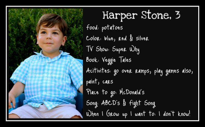Harper age 3 interview