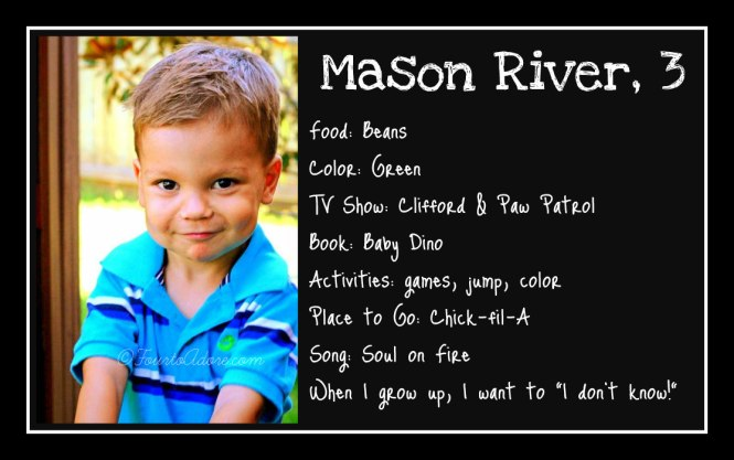 Mason age 3 interview