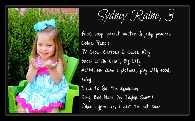 Sydney age 3 interview