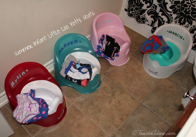 little loo potty seats are handy for multiples- they are relatively small, come in many colors, are cheap ($10), and easy to clean