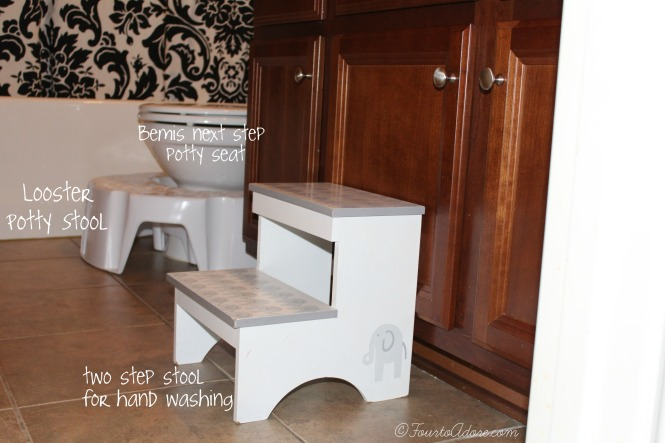 an embedded potty seat, looster stool and two step stool are handy for potty training